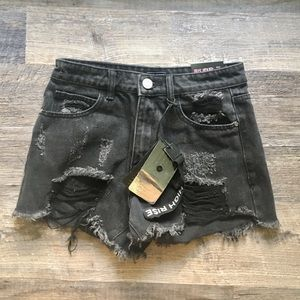 Iris Jeans Black High Rise Shorts